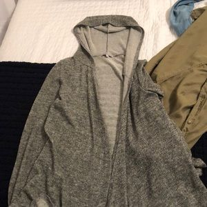Hooded gray cardigan